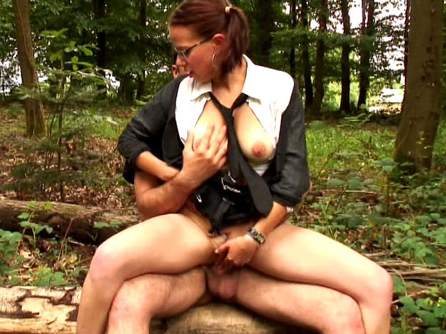 Schoolgirl is screwed in the woods.